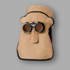 Schweißerhaube aus Rindnarbenleder mit Kundststoffbrille und Kopfhaube